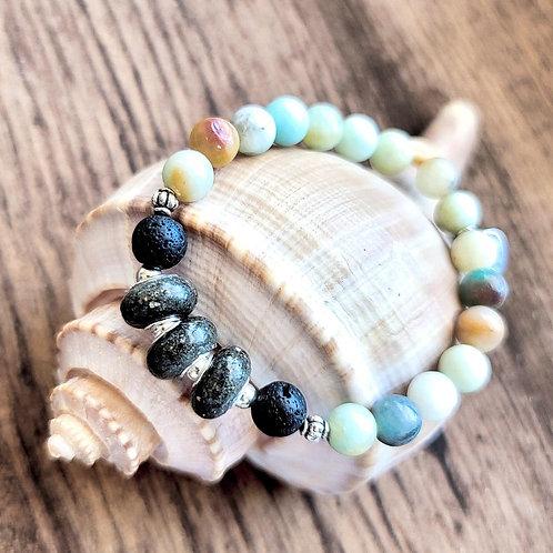 Folly Beach Sand Bracelet with Amazonite Gemstone Beads