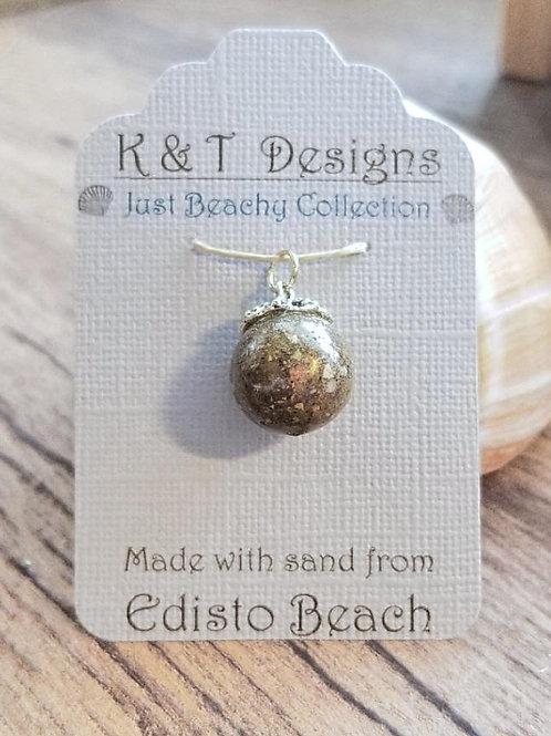 Edisto Beach Sand Round Orb Pendant Necklace