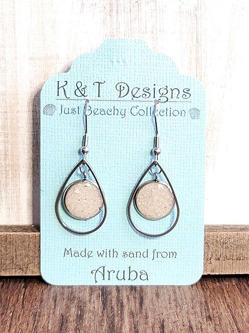 Aruba Beach Sand Teardrop Dangle Earrings