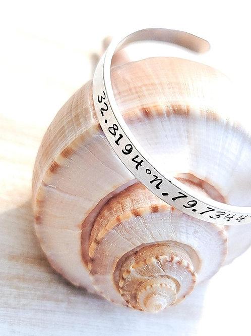 Isle of Palms Coordinates Metal Stamped Bracelet