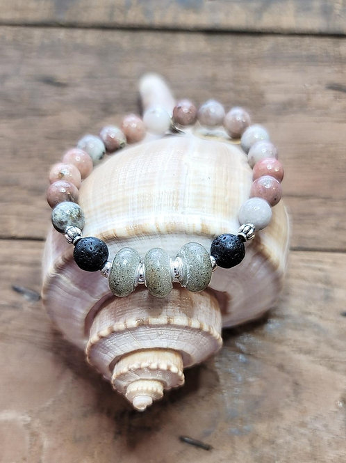 Surfside Beach Sand Bracelet with Salmon Jasper Gemstone Beads