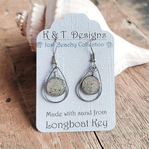 Longboat Key Beach Sand  Teardrop Dangle Earrings