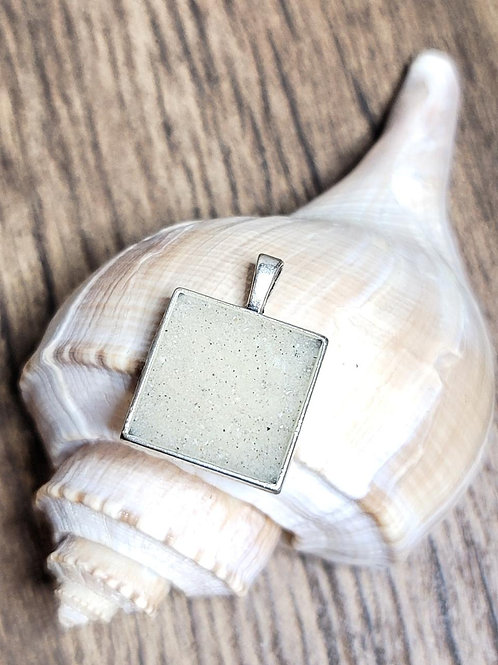 Clearwater Beach Sand Square Pendant Necklace