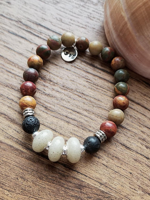St Petes Beach Sand Bracelet with Ruby Turquoise Gemstone Beads