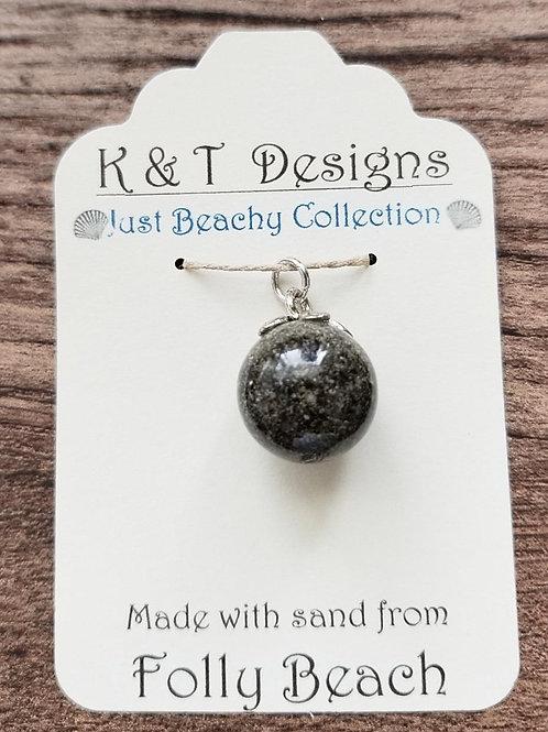 Folly Beach Sand Ball Orb Pendant Necklace