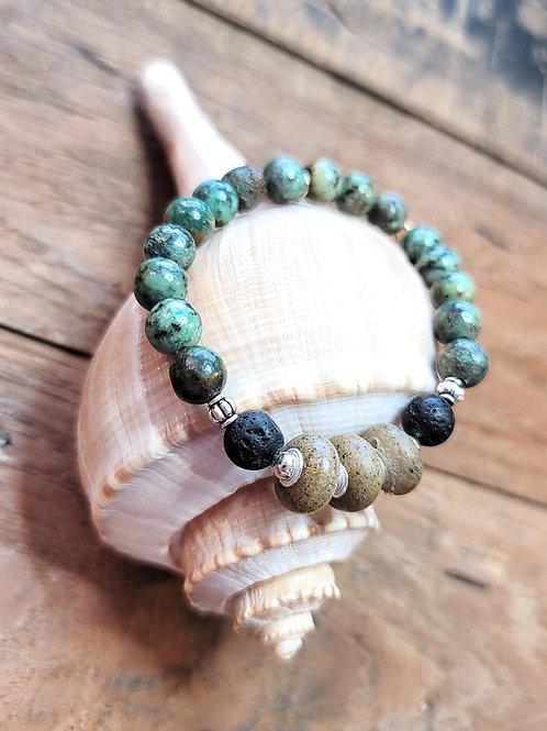 Virginia Beach Sand Bracelet with African Turquoise Gemstone Beads
