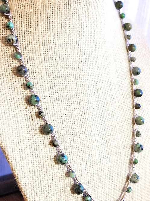 Silk Necklace with African Turquoise Gemstone Beads