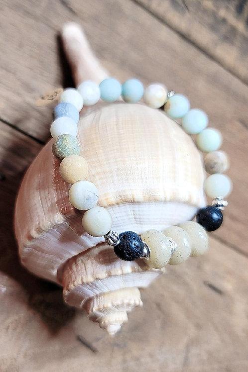 Destin Beach Sand Diffuser Bracelet with Amazonite and Lava Gemstones