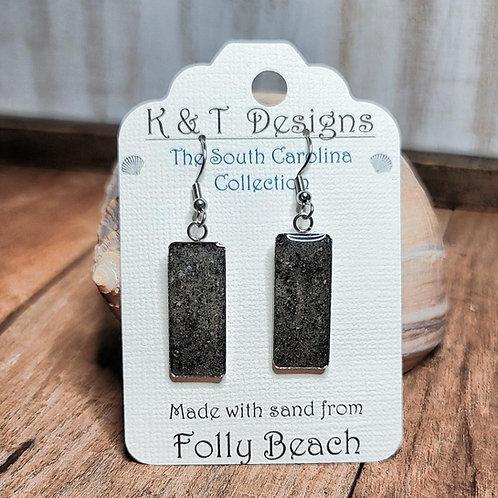Folly Beach Sand Rectangle Dangle Earrings