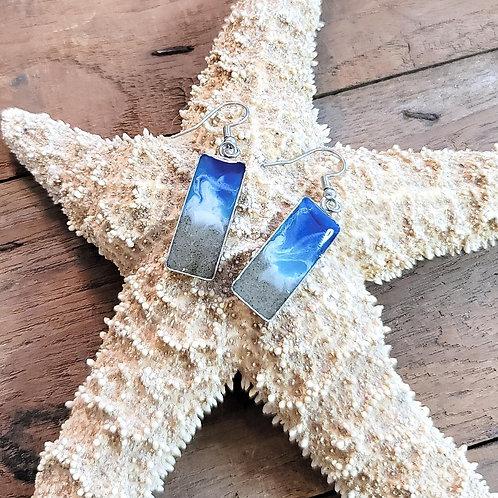 Hilton Head Beach Sand Shoreline Dangle Earrings