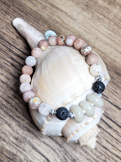 Destin Beach Sand Bracelet with Salmon Jasper Gemstone Beads