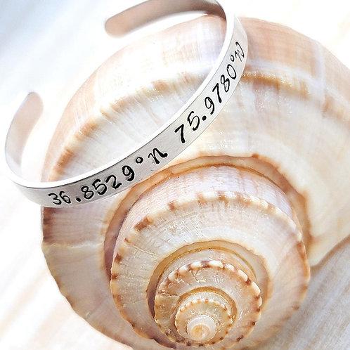 Virginia Beach Coordinates Metal Stamped Bracelet