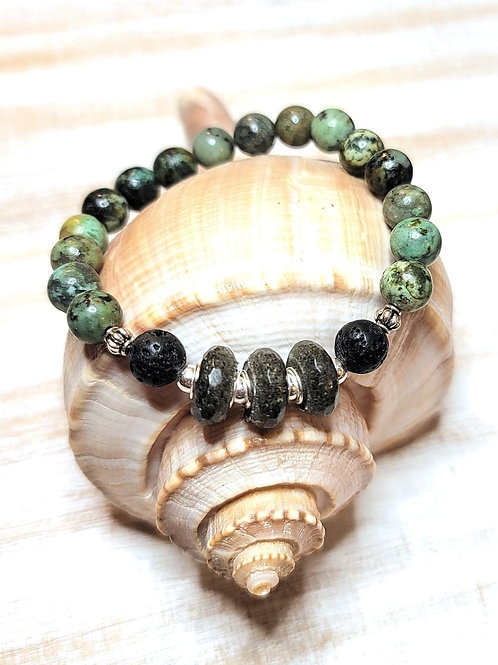 Folly Beach Sand Bracelet with African Turquoise Gemstone Beads