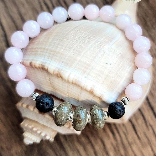 Edisto Beach Sand Bracelet with Rose Quartz Gemstone Beads