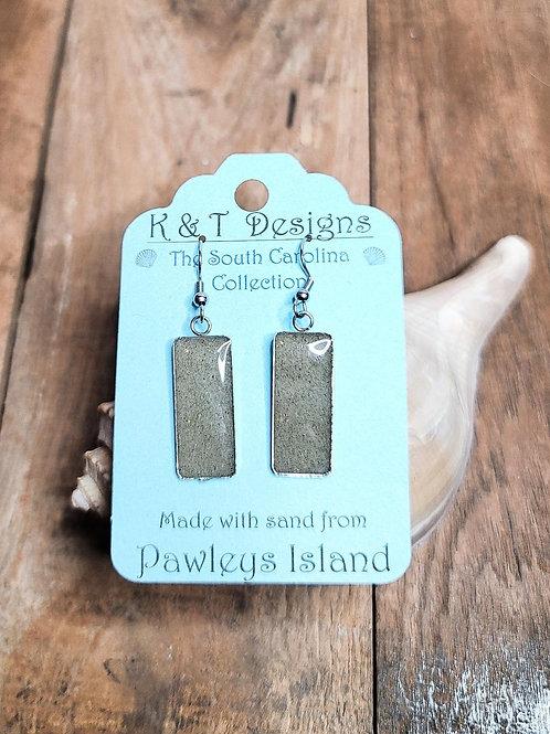 Pawleys Island Beach Sand Rectangle Dangle Earrings