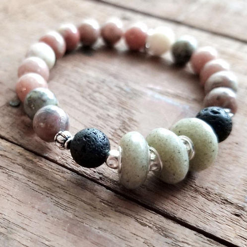Pawleys Island Beach Sand Diffuser Bracelet with Salmon Jasper Gemstone Beads