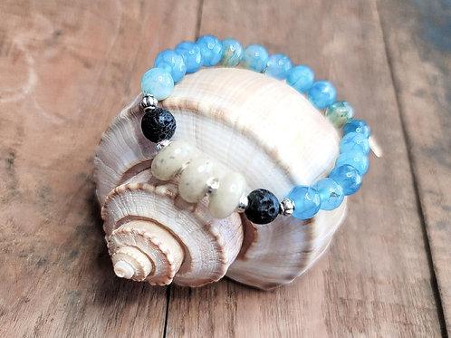 Anna Maria Island Beach Sand Bracelet with Aqua Agate Gemstone Beads