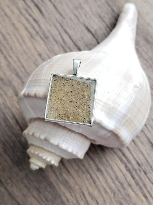 Virginia Beach Sand Square Pendant Necklace
