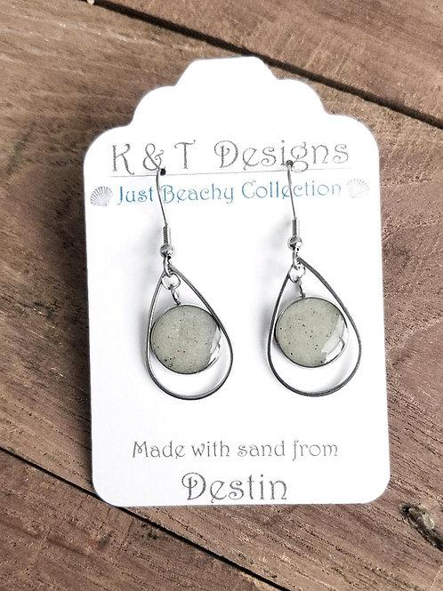 Destin Beach Sand Teardrop Dangle Earrings