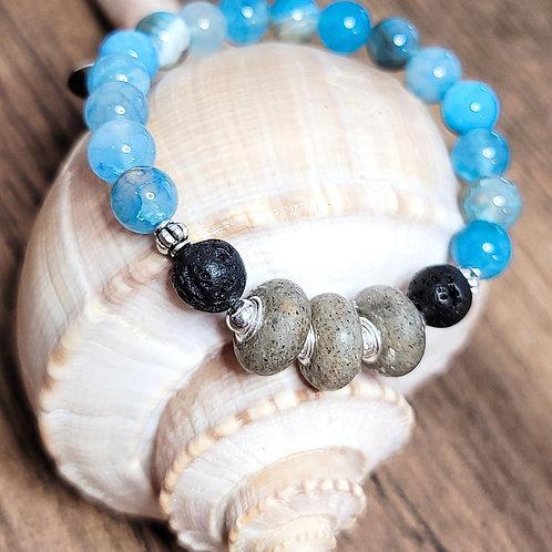 Carolina Beach Sand Bracelet with Aqua Agate Gemstones