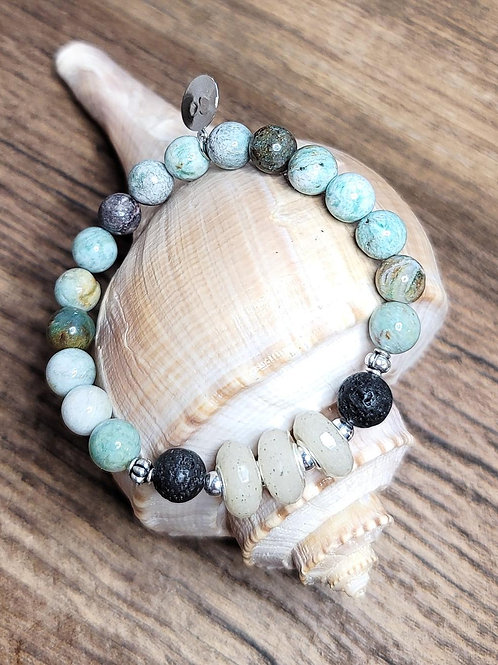 Destin Beach Sand Bracelet with Dragon Jade Gemstone Beads