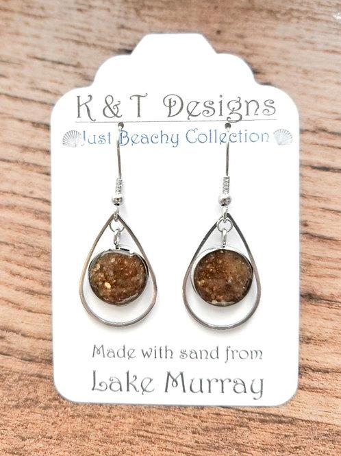 Lake Murray Beach Sand Teardrop Earrings