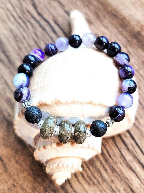 Edisto Beach Sand Bracelet with Purple Agate Gemstone Beads