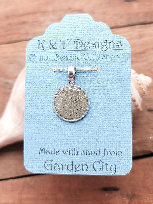 Garden City Beach Sand Small Circle Pendant Necklace