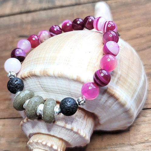 Hilton Head Beach Sand Bracelet with Pink Agate Gemstone Beads