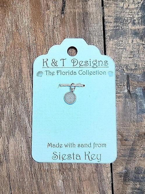 Siesta Key Beach Sand Small Charm Pendant / Necklace