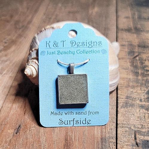 Surfside Beach Sand Square Pendant / Necklace