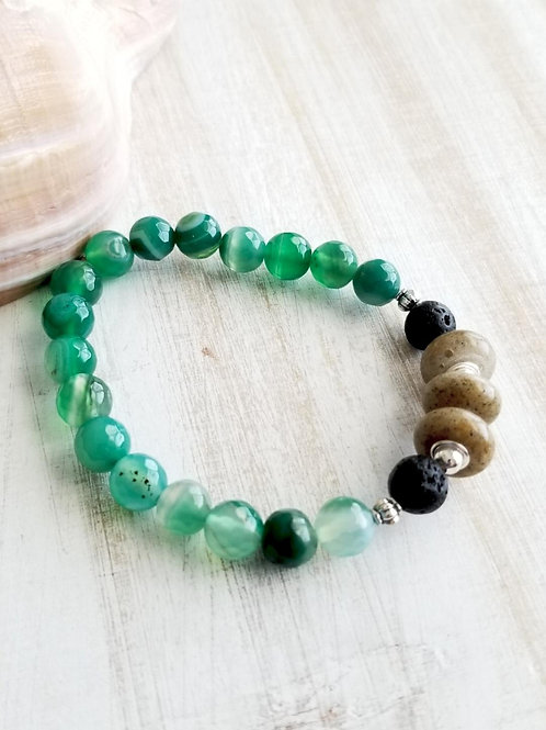 Virginia Beach Sand Bracelet with Green Agate Gemstone Beads