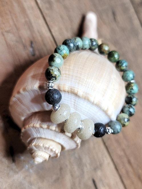 Florida Destin Beach Sand Bracelet with African Turquoise Gemstone Beads