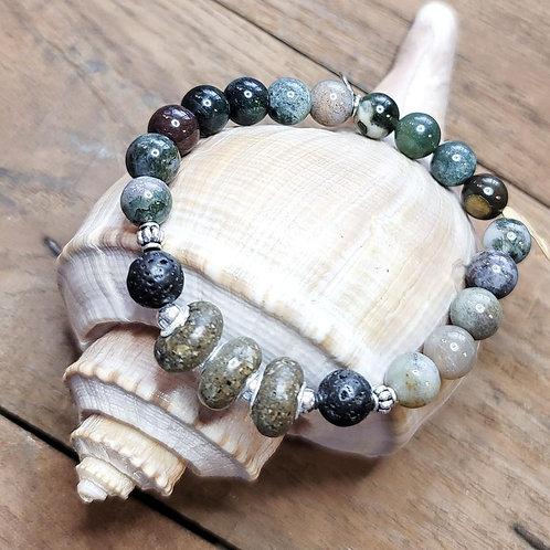 Edisto Beach Sand Bracelet with Indian Agate Gemstone Beads