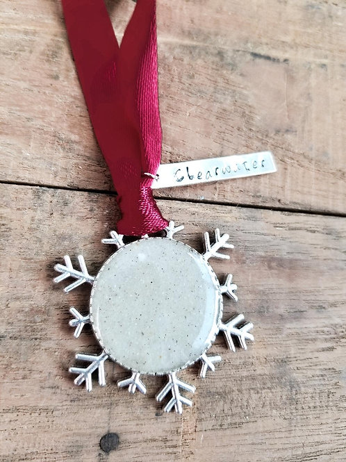 Clearwater Beach Sand Snowflake Christmas Holiday Ornament