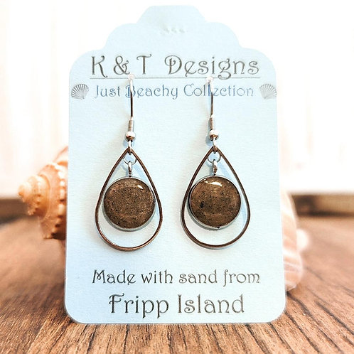 Fripp Island Beach Sand Teardrop Dangle Earrings