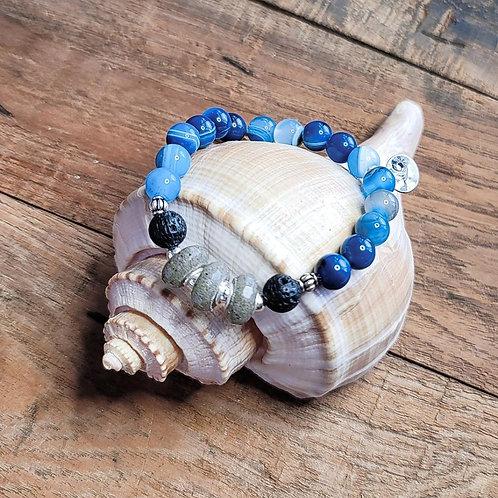 Garden City Beach Sand Bracelet with Blue Agate Gemstone Beads