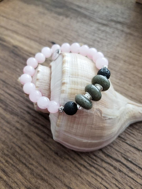 Seabrook Island Beach Sand Bracelet with Rose Quartz Gemstone Beads