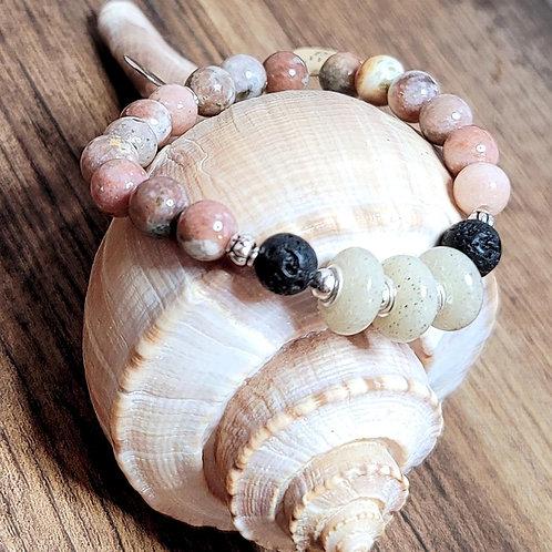 Clearwater Beach Sand Bracelet with Salmon Jasper Gemstone Beads