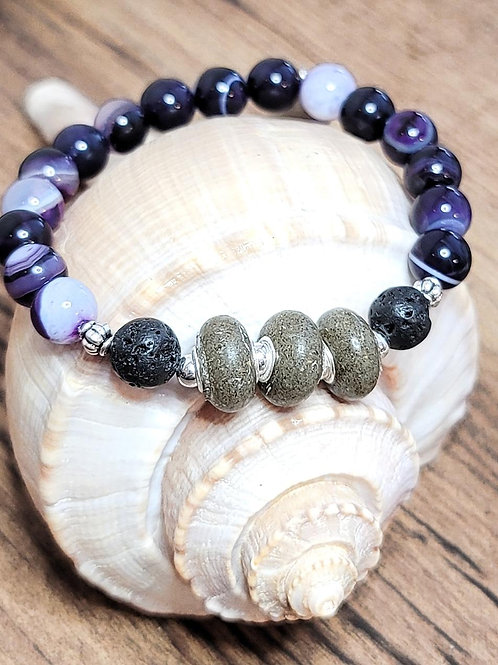 Hilton Head Beach Sand Bracelet with Purple Agate Gemstone Beads