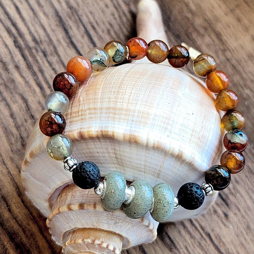 Fripp Island Beach Sand Bracelet with Agate Gemstones