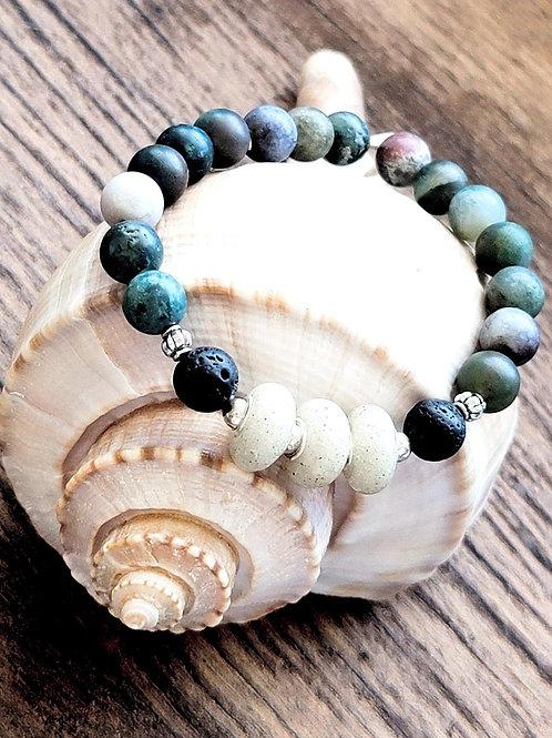 St Petes Beach Sand Diffuser Bracelet with Indian Agate Gemstone Bracelet