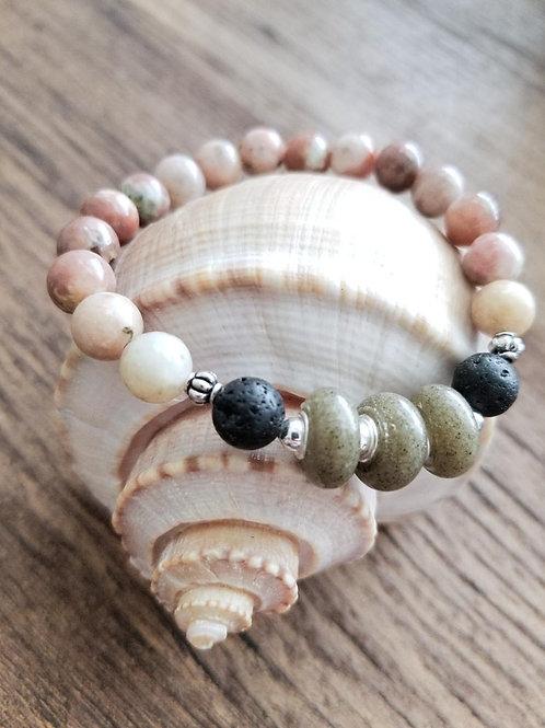 Hilton Head Beach Sand Bracelet with Salmon Jasper Gemstone Beads