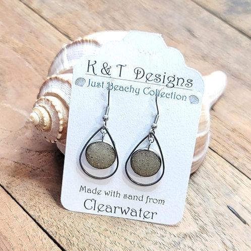 Clearwater Beach Sand Teardrop Dangle Earrings