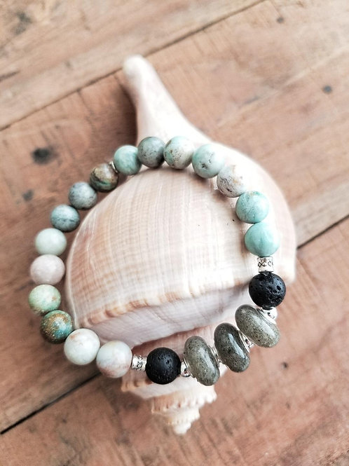 Myrtle Beach Sand Diffuser Bracelet with Dragon Jade and Lava Gemstones