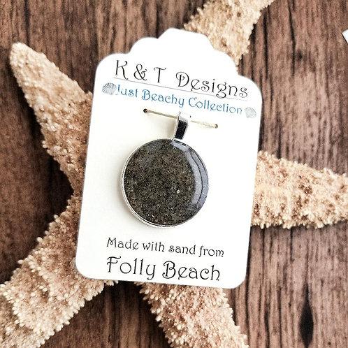 Folly Beach Sand Large Circle Pendant