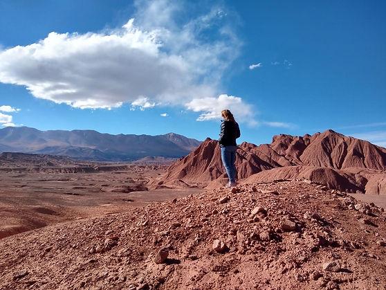 Nikki standing on a mountain in the Argentine Desert