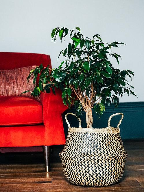 Seagrass Lined Chevron Basket Black - 28cm