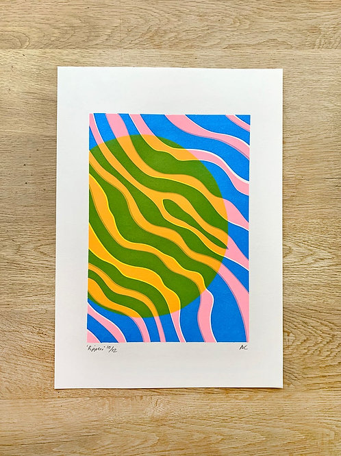 'Ripples' A3 Screenprint by Alice Charman Prints