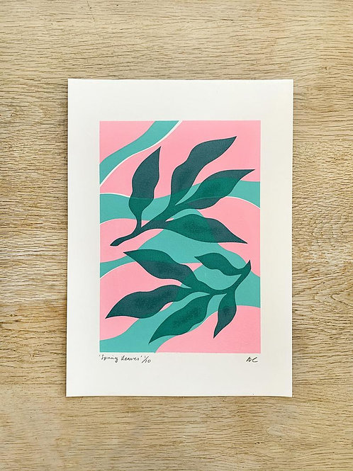 'Pink & Green Spring Leaves' A4 Screenprint by Alice Charman Prints